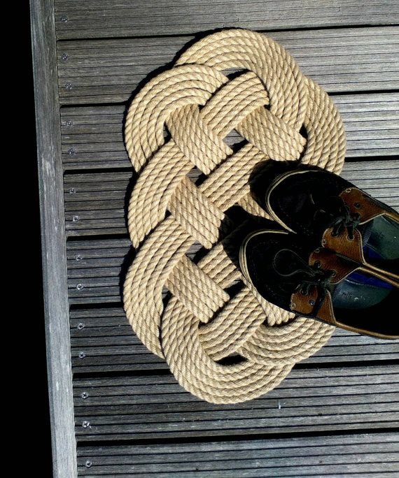 Ocean Plait Mat made with hard wearing synthetic hemp https://www.etsy.com/uk/listing/216745993/rope-door-mat-ocean-plait-knot-beach