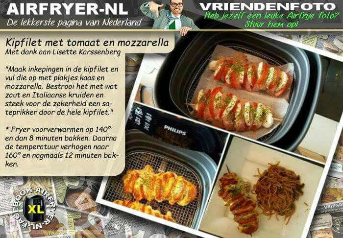Kipfilet met tomaat en mozzarella uit de Airfryer