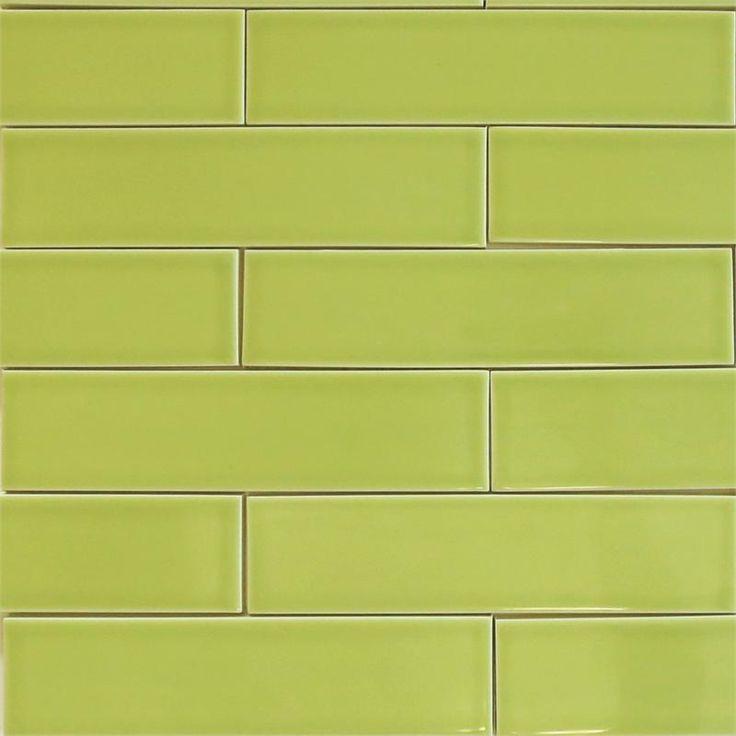 Ceramic subway tile for kitchen backsplash or bathroom tile in green color Pear
