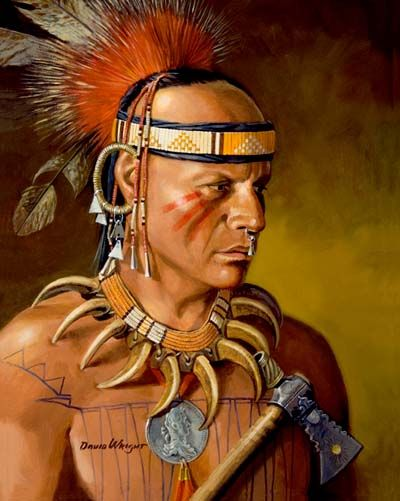 Ojibwa - David Wright. - Gli Ojibway (altre varianti del nome: Ojibwa e Ojibwe) sono una tribù di nativi americani appartenente al gruppo linguistico algonchino, un tempo stanziata nell'odierno stato del Michigan e sulle coste settentrionali del Lago Superiore e del lago Huron, chiamati impropriamente dai bianchi Chippewa. Erano cacciatori, raccoglitori di riso selvatico, il loro cibo principale, e coltivatori di mais.