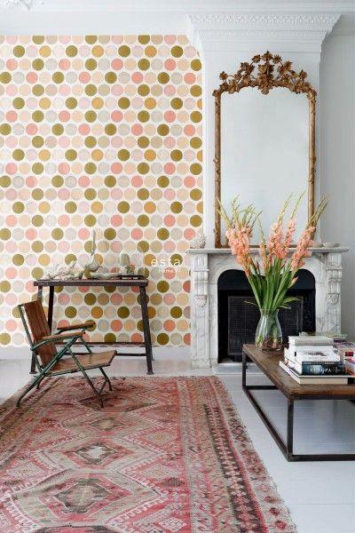 HD non-woven wallpaper large dots peach pink