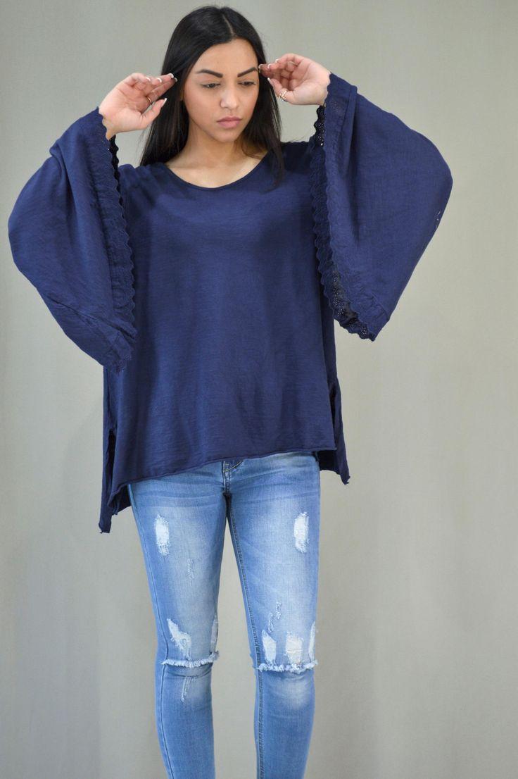 Γυναικεία μπλούζα με καμπάνα μανίκι MPLU-0895-bl | Μπλούζες >