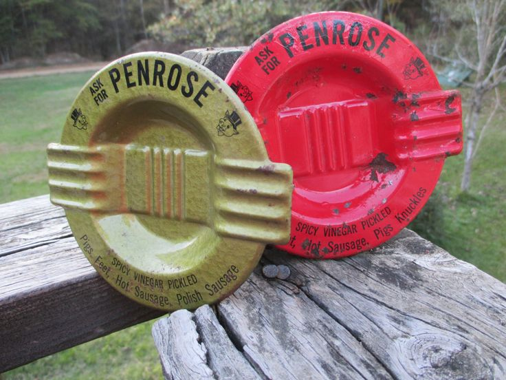 Vintage Tin Advertising Ashtray--Mid Century Ash Tray--Red or Gold Metal--Smoking Accessory--Penrose Sausage--Pickled Pigs Feet by AlloftheAbove on Etsy