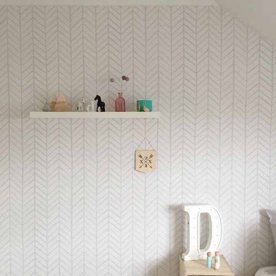 Removable Wallpaper, Herringbone wallpaper, wallpaper, Herringbone, Peel and stick wallpaper, Self adhesive wallpaper, Grey wallpaper