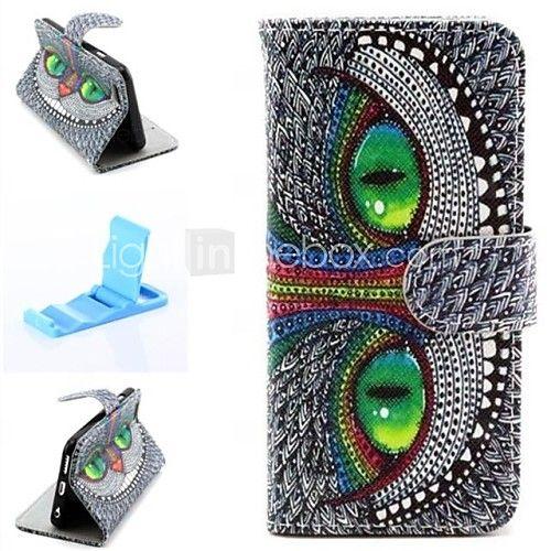 grønne øjne mønster pu læder full cover med stativ til iPhone 6 | MiniInTheBox
