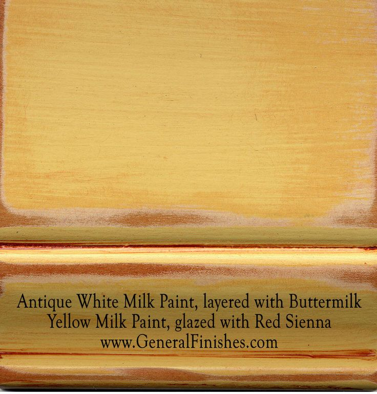 Antique White Milk Paint, layered with Buttermilk Yellow Milk Paint, glazed with Red Sienna by www.GeneralFinishes.com. Ideal for interior/exterior furniture & projects - from http://www.generalfinishes.com/retail-products/water-base-milk-paints-glazes. It's easier to use than chalk paint! Lighten it, distress it, antique it,  mix it, glaze it, - the options are unlimited. Available at unfinished furniture stores - http://www.buyunfinishedfurniture.com, Rockler and Woodcraft Woodworking…