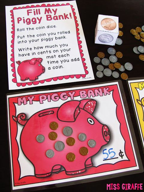 Kids take turns rolling the coin dice to fill their piggy banks!! Awesome adding coins practice to learn counting money