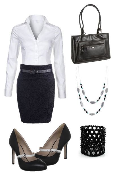 Great outfit idea for what to wear to an interview. It combines a black lace skirt with a white button blouse and kurt geiger heels.