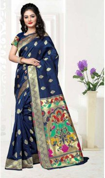 Navy Blue Color Art Silk Pooja and Traditional Wear Saree | FH579186177