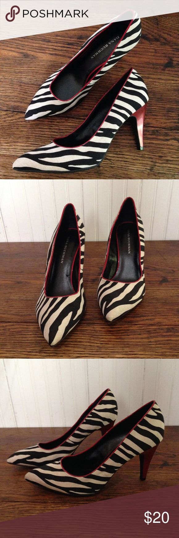 """Zebra heels size 8.5 Zebra heels  with red, size 8.5, 4"""" heels, some cracking on the red but otherwise good condition Dana Buchman Shoes Heels"""