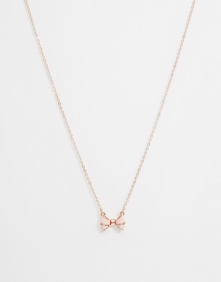 Image 1 of Ted Baker Edda Enamel Bow Pendant Necklace