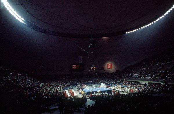 Cette photo montre une vue d'ensemble de l'arène de boxe aux Jeux olympiques de Montréal de 1976. (Photo PC/AOC)