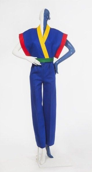 Frans Molenaar [1940-2015] (designer), Pantsuit consisting of blue wool felt pants, with a kimono jacket, trimmed with red, yellow, and green felt, Netherlands, 1972, The Hague Museum