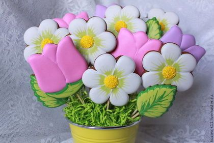 """Купить Пряники имбирные """"Букет"""" - желтый, цветок, ромашка, ромашки, ромашковая свадьба, тюльпан, тюльпаны"""