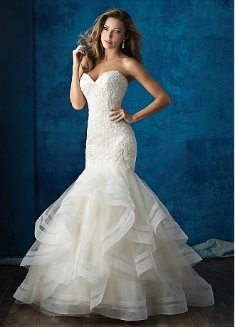 Buy discount Alluring Tulle Sweetheart Neckline Mermaid Wedding Dresses With Lace Appliques at Dressilyme.com