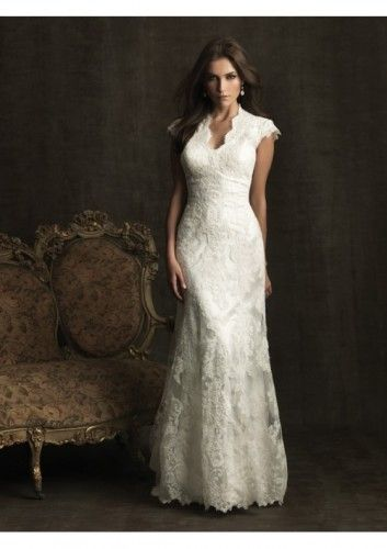 Lace and Charmeuse A-Line V-Neck Short Sleeves Wedding Dress With Chapel Train - A-Line Wedding Dresses - Wedding Dresses