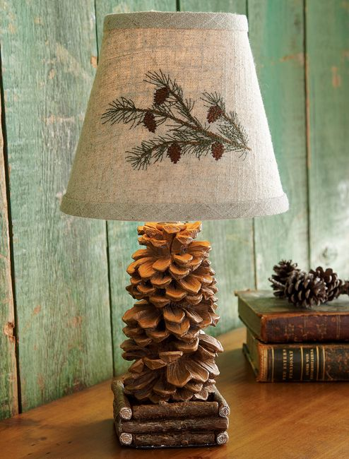 "Pinecone Accent Lamp  Black Forest Decor Small Accent, low watt 13""H"