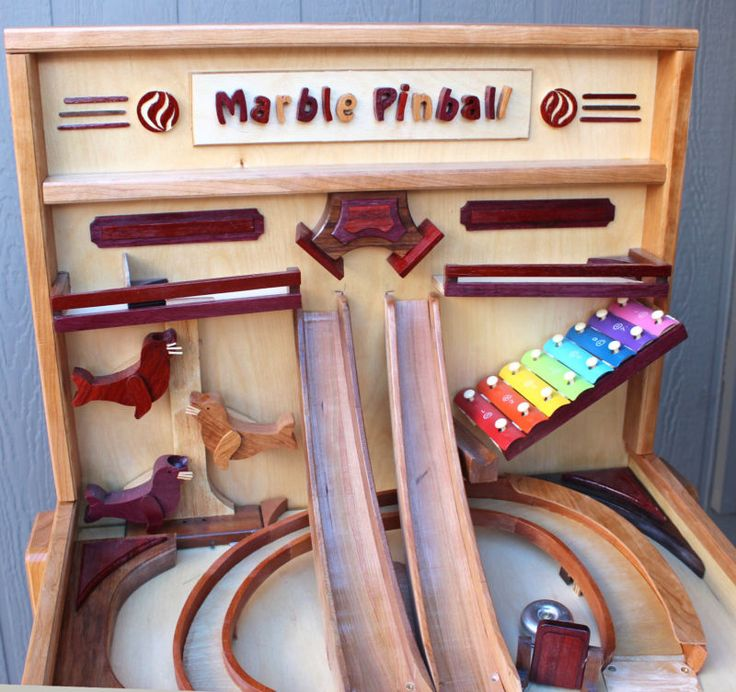 Woodworking plan for building a wood Marble Pinball game Like marble drops & run