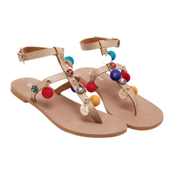 T Bar Pompon Flat Heel Sandals Apricot ($30) ❤ liked on Polyvore featuring shoes, sandals, pom pom sandals, t-strap sandals, t-bar sandals, flat shoes and t bar shoes