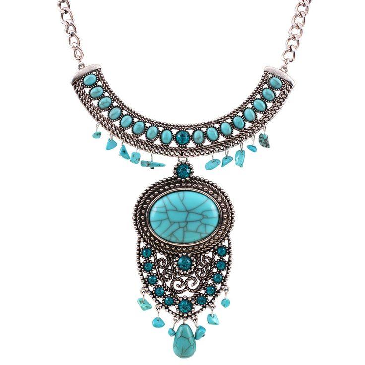 Цыганская чешского подражать бирюзовый себе ожерелье Pendats воротник колье макси ожерелье для женщин мода ювелирных изделий