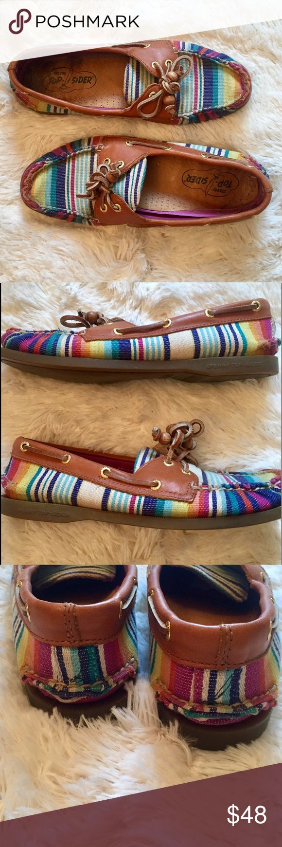 Sperry Top-Sider Rainbow Boat Shoes 7.5 Sperry Top-Sider Rainbow Boat Shoes. In gently used condition. A couple spots could use a bit of a cleaning but they are in great shape! So cute with skinny jeans, shorts, or even yogas. These are comfortable and trendy. Size is 7.5. Reasonable offers always welcome! 🙂 Sperry Top-Sider Shoes Flats & Loafers