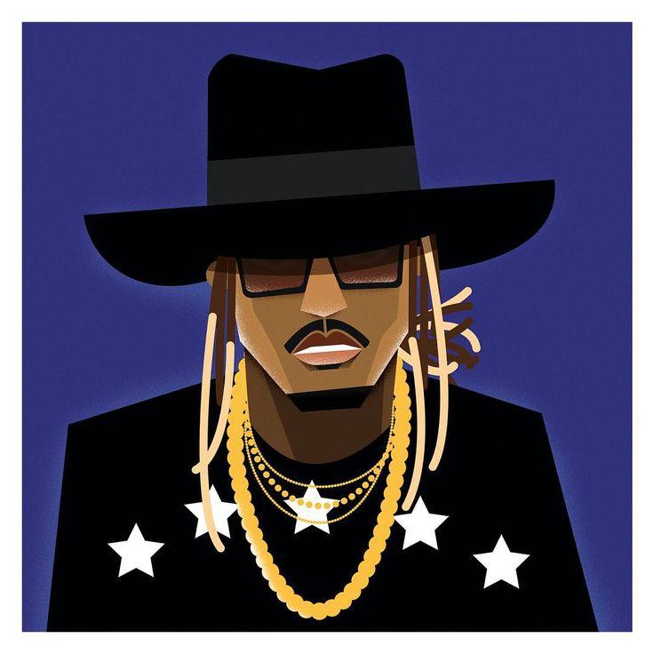 "Future aka ""FreeBandz"" #future #freebandz #illustration #hiphop #rap #art #colorful #cartoon #design #designer #drawing #painting #music #rapper #creative #artist Illustration by Dale Edwin Murray @demillustration"