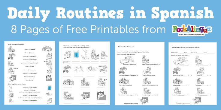 8 pages of printable Spanish worksheets to practice verbs and vocabulary related to daily routines. Perfect for elementary Spanish classrooms and home school! Great Spanish verb practice!
