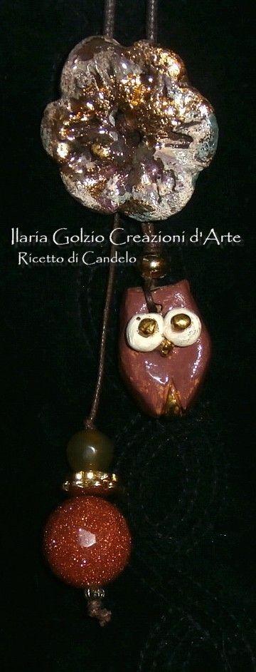 """""""I GIOIELLI DEL BOSCO"""" - Collana in ceramica dorata, impreziosita da perle di giada e golden stone. Pezzo unico."""