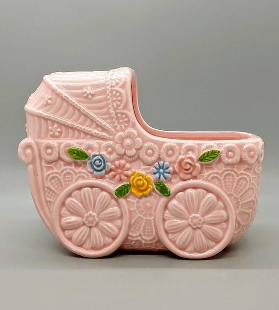 Vintage Napcoware Japan Pink Baby Girl Nursery Planter Bassinet Floral