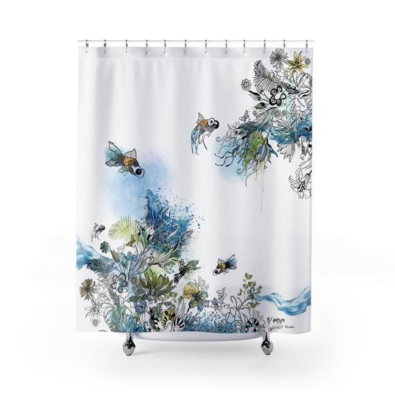 Fish Shower Curtain Bathroom Decor Art Shower Curtain Blue