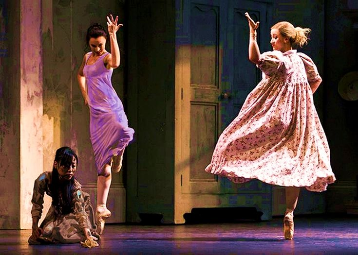 Cinderella's stepsisters ridicule and laugh at her.