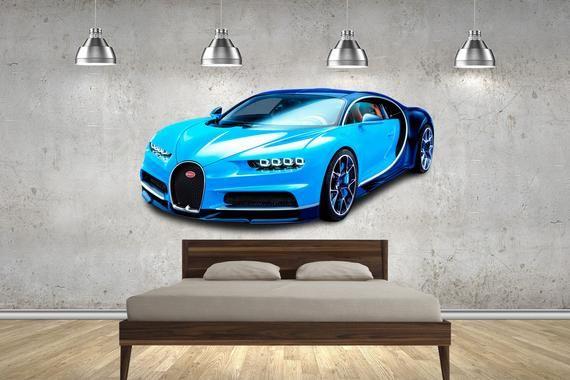 Bugatti Chiron Blue Hyper Super Car Wall Sticker Multi Sizes Decal Bedroom Childrens Games Room Car Super Cars Car Wall Art Bugatti