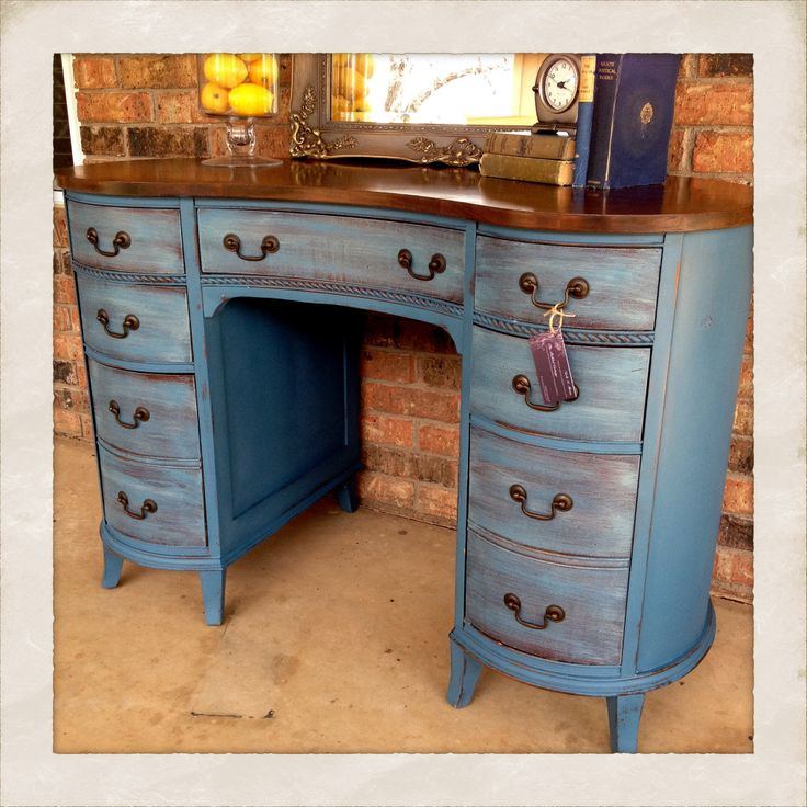 Kidney Shaped Desk Abusson Blue With Dark Wax The Pickled Cottage