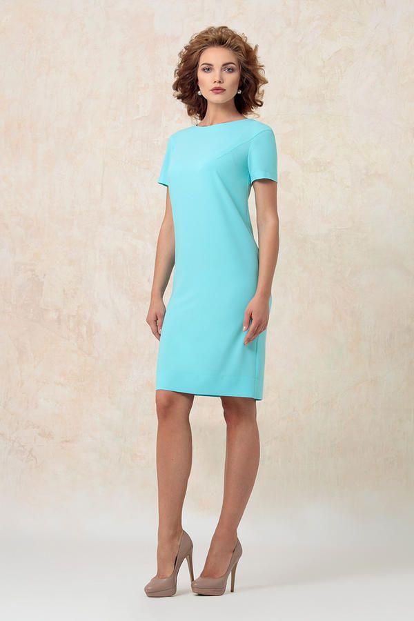 6181 платье голубой. Прямое, стильное платье выполнено из креповой ткани | Другие товары