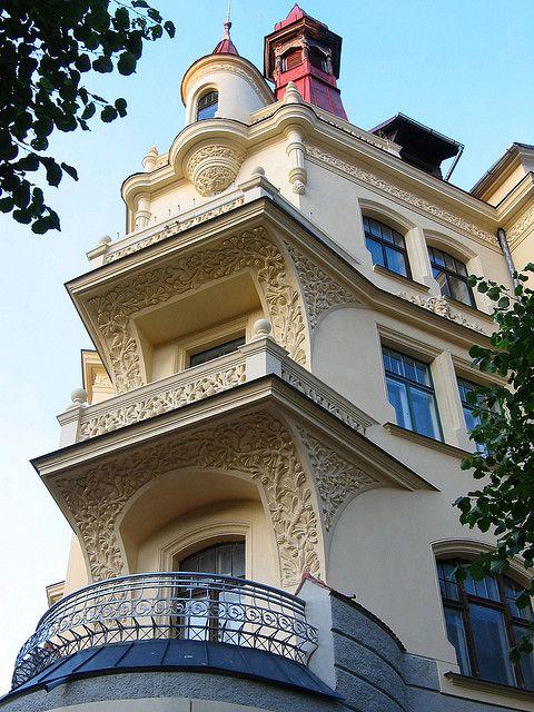 Art Nouveau building in Riga, Latvia | by paula soler-moya, via Flickr