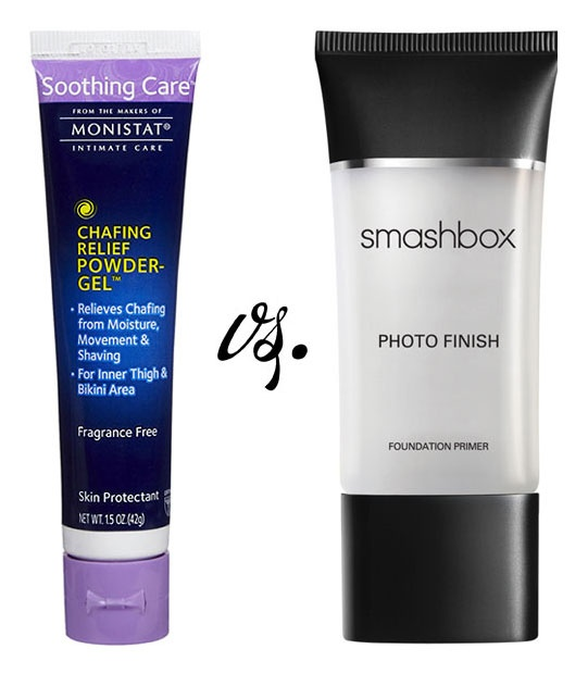 """FACE PRIMER :: Product Comparison--Monistat Soothing Care Chafing Gel (as a Face Primer) vs. Smashbox (& a whole bunch of other expensive primers!) :: Very similar ingredients & at about $5 a tube, it's a whole heck of a lot cheaper than any  of the other """"professional"""" face primers out there. Check out her review & comparisons...this stuff actually works! 