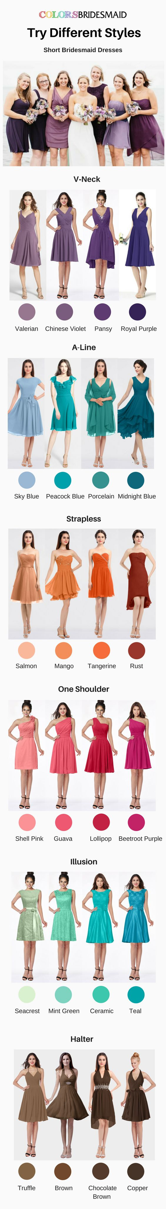 These short bridesmaid dresses with different styles including V-neckline, A-line, strapless, one-shoulder, illusion and halter styles are highly welcomed. They can be custom made to all sizes and are mostly sold under $100. Where to buy such cheap bridesmaid dresses? Colorsbridesmaid.com is your best choice.