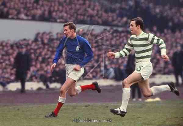 Celtic 4 Rangers 0 in April 1969 at Hampden Park. Jim Brogan chases Alex Ferguson in the Scottish Cup Final.