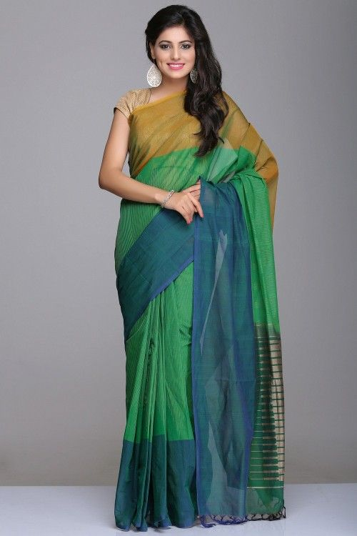 Village Cotton Sarees Sarees | Green & Blue Village Cotton Saree With Thin Vertical Beige Stripes And Temple Motifs On The Pallu | IndiaInMyBag.com