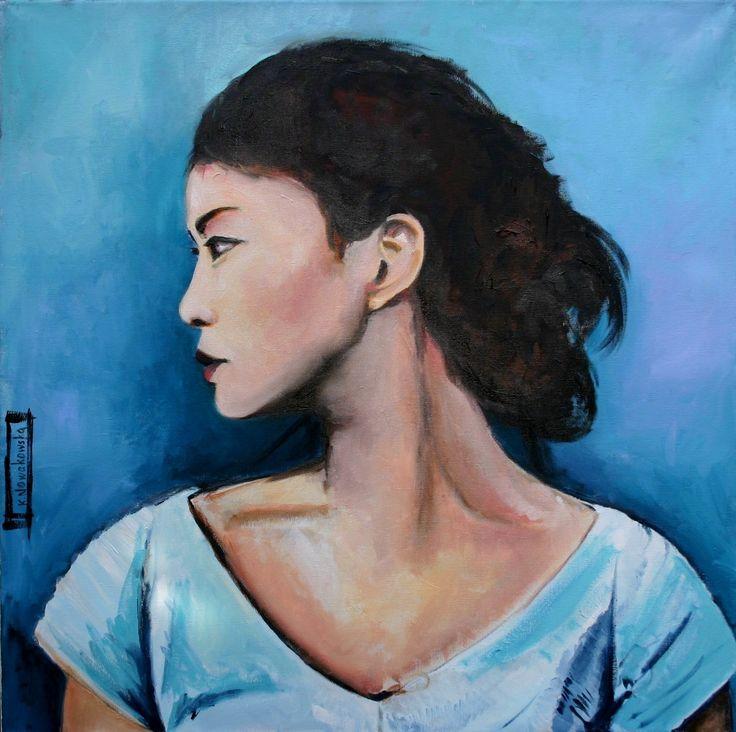 """""""Kobieta w niebieskiej bluzce"""", technika mieszana, olej i akryl na płótnie, 80 x 80 kasianowakowska.pl #painting #art #artwork #nowakowska"""