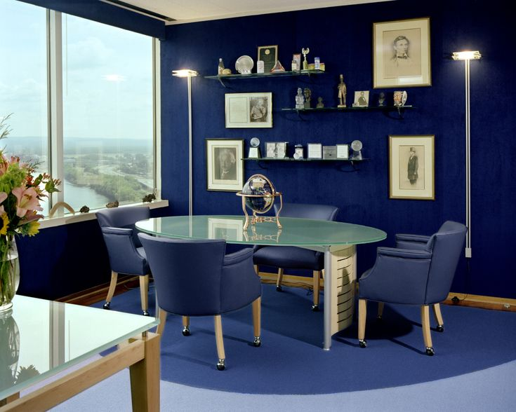 15 Beautiful Dark Blue Wall Design Ideas | Blue office, Living ...