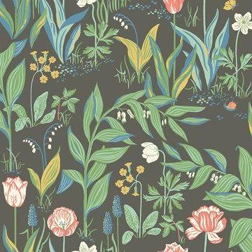 Engelska Tapetmagasinet - blommig - somrig - tapet - mörk - bakgrund - tulpaner - Boråstapeter - Spring Garden