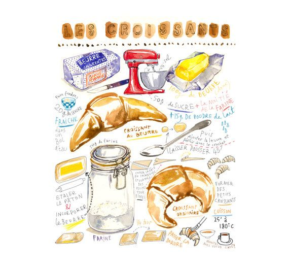 French croissant illustrated recipe print by lucileskitchen