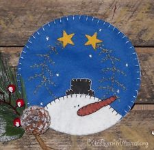 Primitive Winter SNOWMAN & Fir Trees Wool Felt Penny Rug ~ Christmas Candle Mat