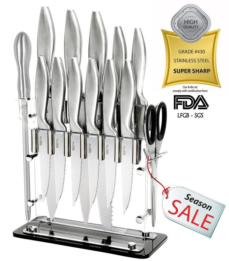 14 Piece Cutlery Kitchen Knife Block Set Chef Bread Carving Utility Paring Gift #Stoneboomer