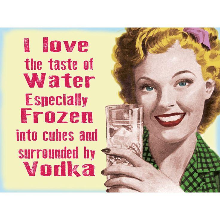 Vodka I Love the Taste of Water Funny Bar Sign | Funny Bar Signs | RetroPlanet.com