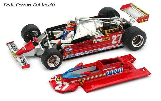 """Ferrari 126CK F1 Turbo de Gilles Villeneuve del GP de Mónaco de 1981, en versión descubierta, que permite  admirar todos los detalles del monoplaza. Modelo realizado por BRUMM a escala 1:43, en serie limitada de 1000 ejemplares, perteneciente a su nueva gama """"Colección 27"""". Modelo de Pre-serie (0000/1000) obsequiado por gentileza de BRUMM para nuestra Colección"""