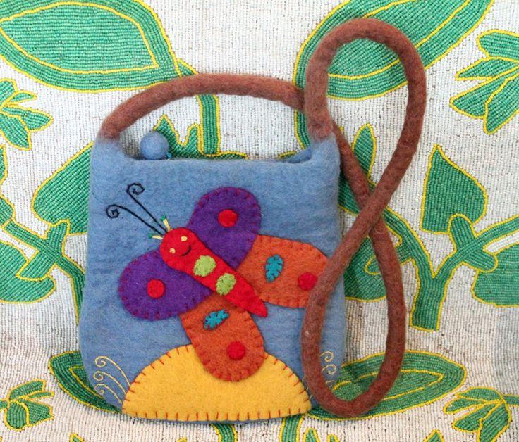 Butterfly felted wool purse