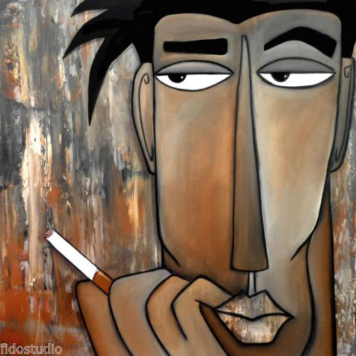 THINK-AGAIN-Original-Abstract-Modern-Faces-POP-Art-HUGE-Painting-by-Fidostudio