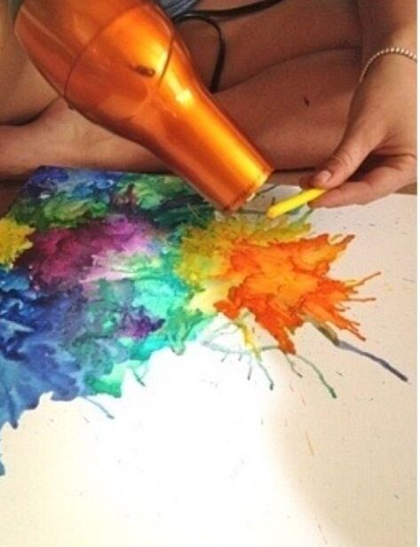 Fun crayon ideas take crayons use a hair dryer on to a white canvas!